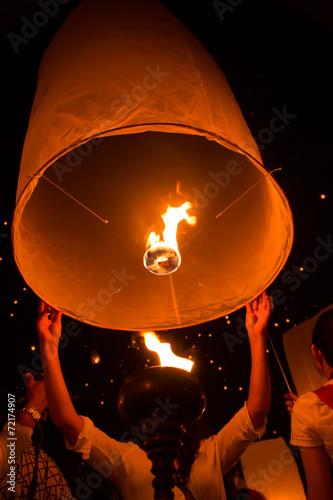 Fotografie, Obraz  Sky lanterns, Flying Lanterns