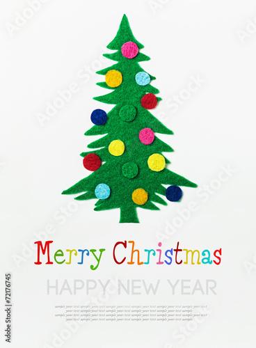 Christmas Tree With Balls Made Of Felt
