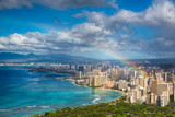 Fototapeta Tęcza - Rainbow over Hawaii skyline