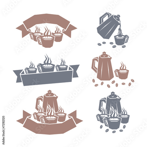 Coffee labels. Vector illustration. Fototapet