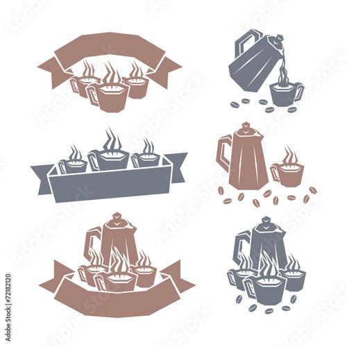 Coffee labels. Vector illustration. Принти на полотні