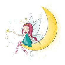 Cute Christmas Fairy With Magi...