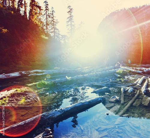 Fototapety, obrazy: Mountains lake