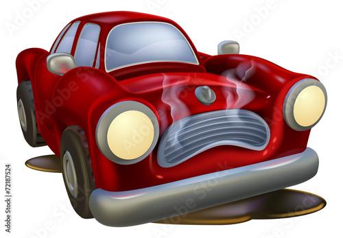 Staande foto Cartoon cars Wrecked cartoon car