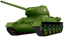 T-34 Tank In Perspective Vector Illustration