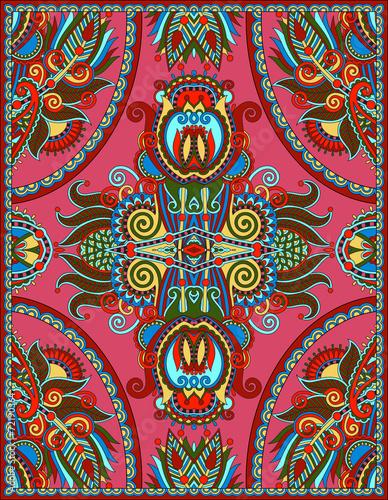Foto auf AluDibond Boho-Stil ukrainian floral carpet design for print on canvas or paper, kar