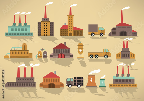 Foto op Aluminium Op straat Factory icons (retro colors)