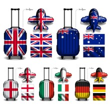 Vector Of Flag Luggage Trolley...