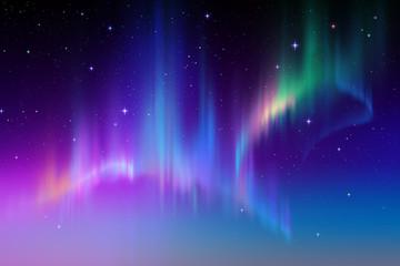 Zorza polarna w gwiaździste niebo polarne, ilustracja