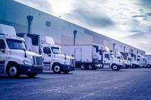 Trucks Lorrys Loading Unloading At Warehouse