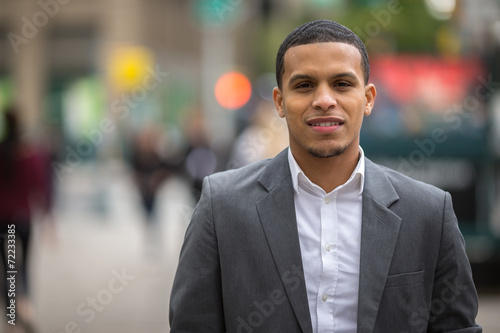 Fotografie, Obraz  Young African American black Latino man smile face