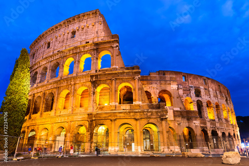 Spoed Foto op Canvas Rome Colosseum twilight, Rome, Italy