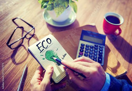 Fotografie, Obraz  Businessman Notepad Eco Idea Think Word Concept