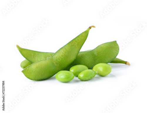 Fototapeta green soybeans on white background obraz