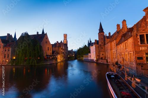 Poster Bridges night scene of Brugge
