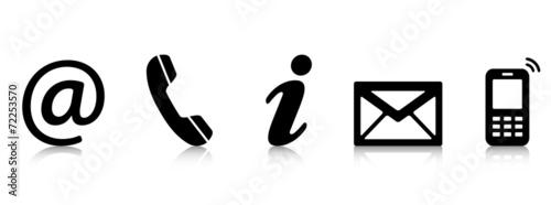 Obraz Contact Us – Set of black icons with reflection 2 - fototapety do salonu