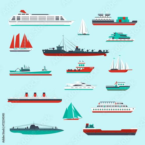 Stampa su Tela Ships and boats set