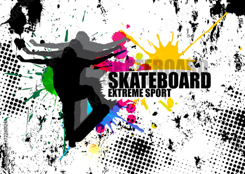 extreme sport man jumping with skateboard and splash color