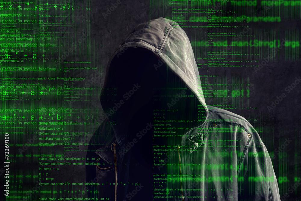 Fototapeta Faceless hooded anonymous computer hacker