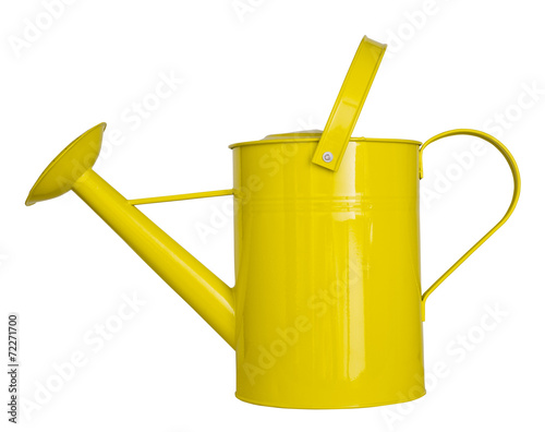 Fotografia Yellow watering can isolated on a white background