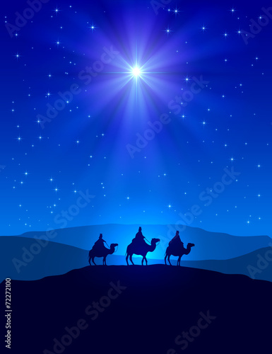 Christmas star on blue sky and three wise men Wall mural