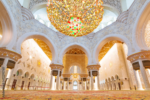 Foto auf AluDibond Abu Dhabi Sheikh Zayed Grand Mosque interior in Abu Dhabi, UAE