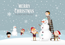 Snowman And Kids Making A Snowman In Winter C
