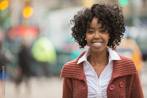 African American Black Woman In City Smile Happy Face
