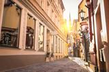 Fototapeta Uliczki - Vintage retro travel image of a narrow medieval street in old to