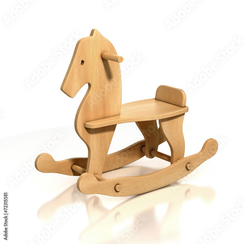 Fotografía  wooden rocking horse chair 3d illustration