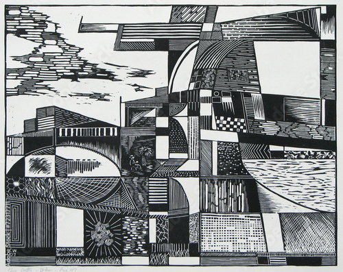 Fotografie, Obraz  a woodcut print of an abstracted cityscape