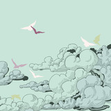 Sky background, clouds and birds flying - 72318575