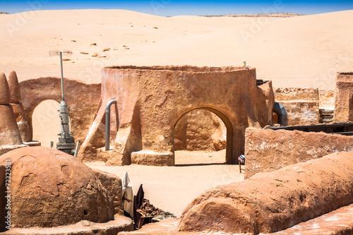 The houses from planet Tatouine - Star Wars film set,Nefta Tunis Canvas Print