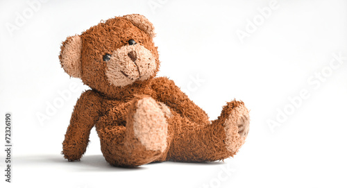 Cuadros en Lienzo Teddy bear isolated on white