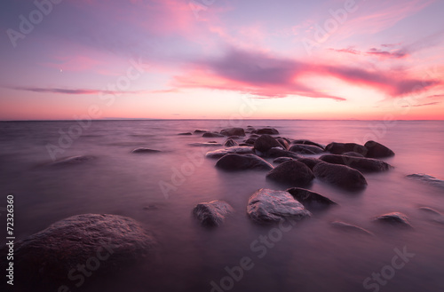 Sunset over the baltic sea, beautiful summer scene