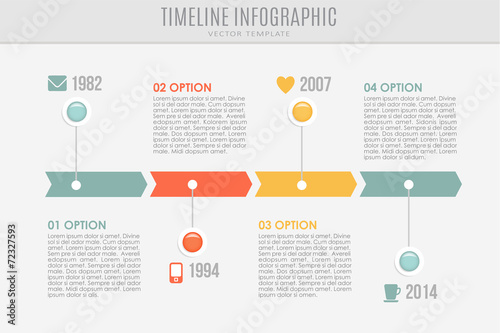 Fototapeta Timeline report template with buttons and icons, vector obraz