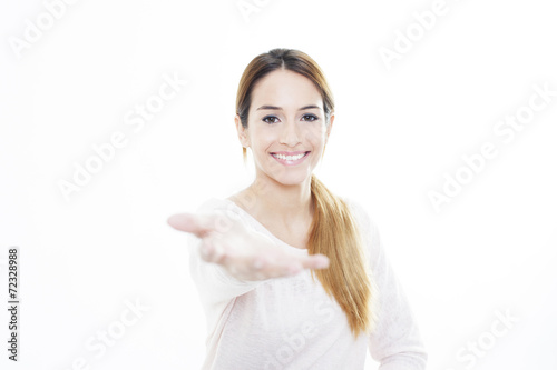 Girl holding her hand out