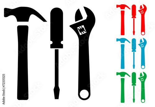 Pictograma conjunto herramientas con varios colores
