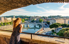 Female Tourist Admires Panorama Of Rome, Pretty Woman Travels In Italy