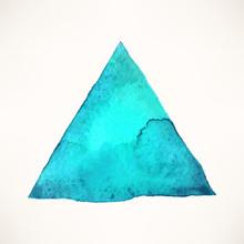 Blue Watercolor Triangle Backg...