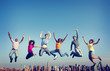 canvas print picture - Cheerful People Jumping Friendship Happiness City