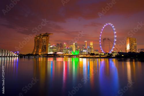 Singapore Skyline at sunset Poster