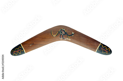 Painted wood boomerang isolated on white background Wallpaper Mural