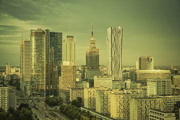 Fototapeta Warszawa Warsaw financial center in late afternoon, Poland