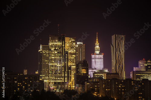 Warsaw downtown at night #72344758