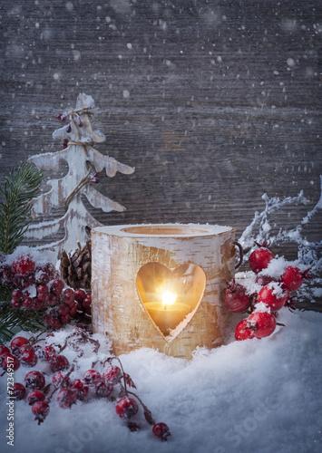 Foto-Leinwand ohne Rahmen - Winter candle (von Elena Schweitzer)