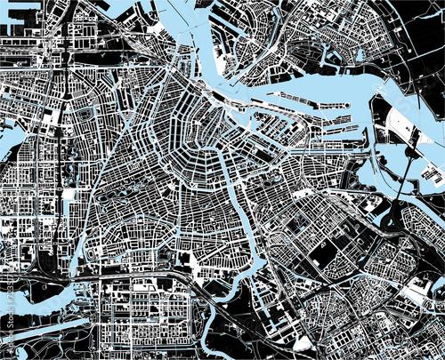 czarno-biala-mapa-miasta-amsterdam