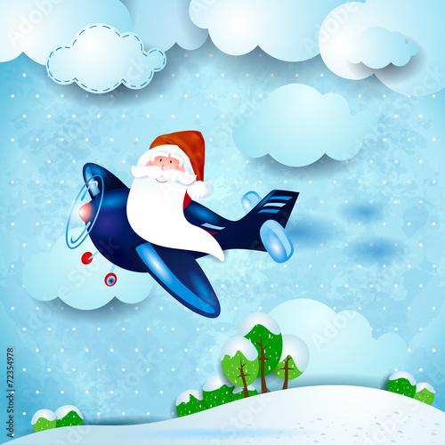Deurstickers Vliegtuigen, ballon Santa on the plane, over the countryside