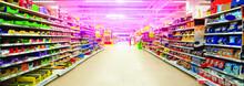 Wide Perspective Of Empty Supermarket