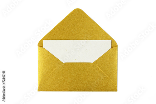 Fototapeta gold envelope with blank white card obraz